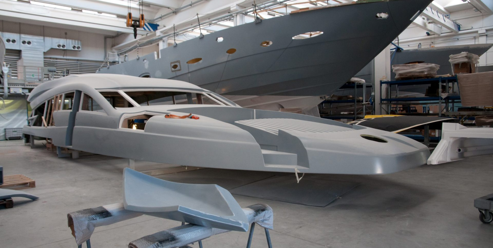 Super Yacht in pieces, being made in an Italian shipyard