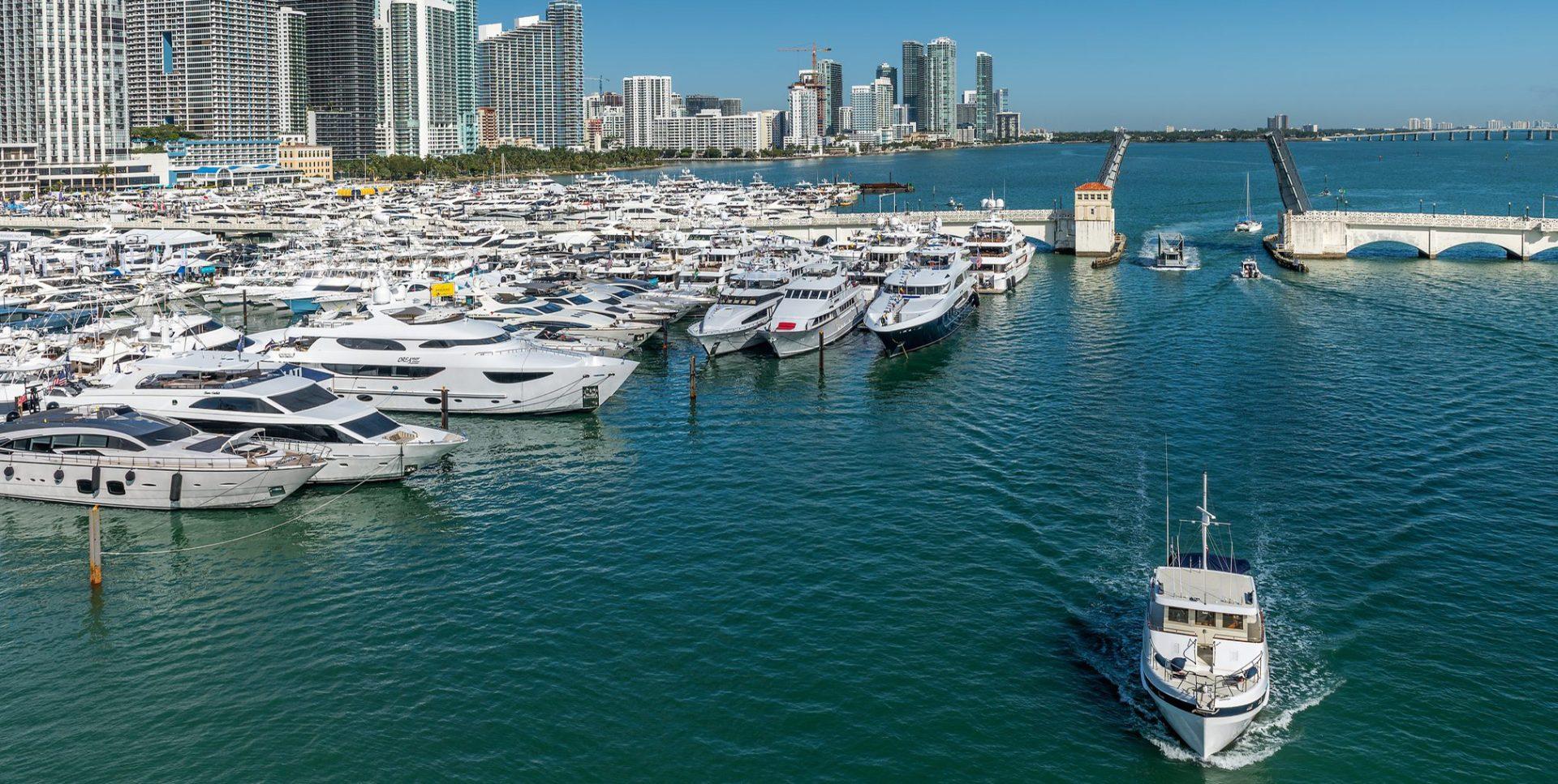 Miami International Boat Show, Miami Marina, docked full of luxury superyachts