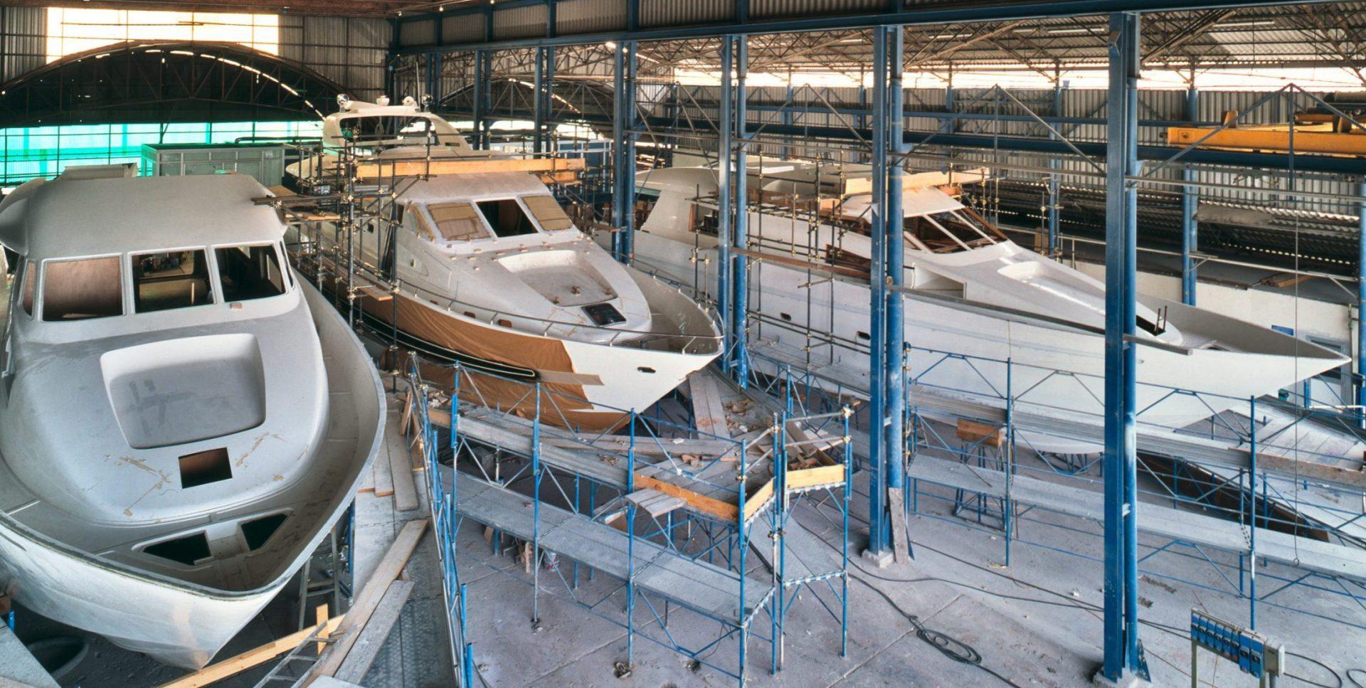 Inside of a Yachts building shipyard